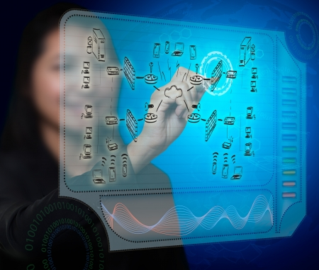 business woman drawing a security plan for a firewall system Foto de archivo