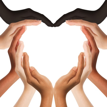 hands holding heart: multiracial human hands making a heart shape on white background with a copy space in the middle