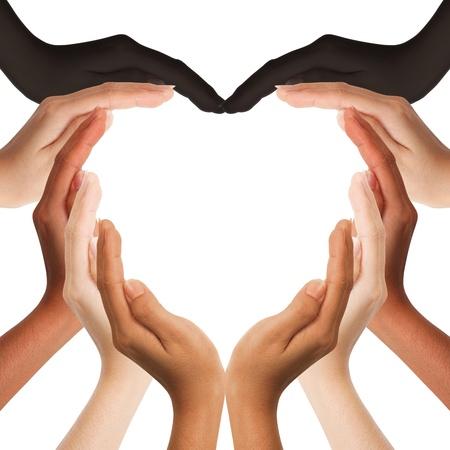 cuore in mano: multirazziale mani umane che fanno a forma di cuore su sfondo bianco con una copia spazio in mezzo Archivio Fotografico
