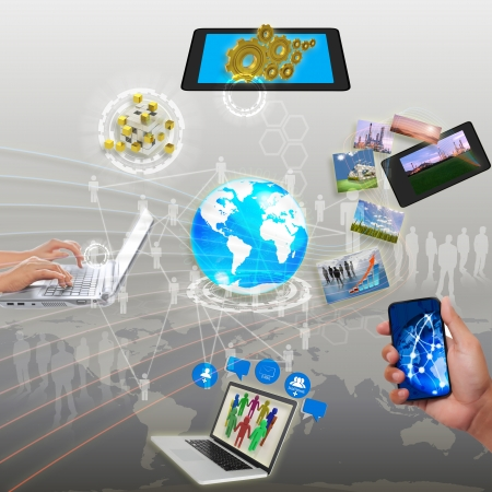 electronic device: share streaming information, synchronization, cloud networking Stock Photo