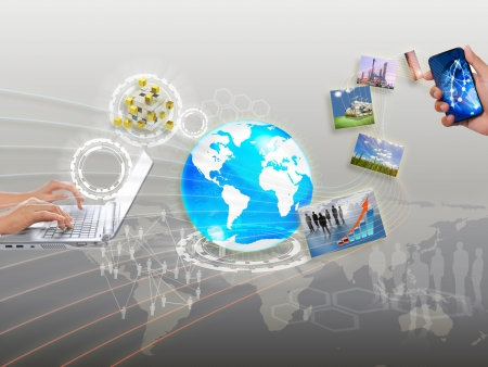 hand holding globe: share streaming information, synchronization, cloud networking Stock Photo