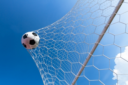 Soccer ball in goal, success concept Фото со стока