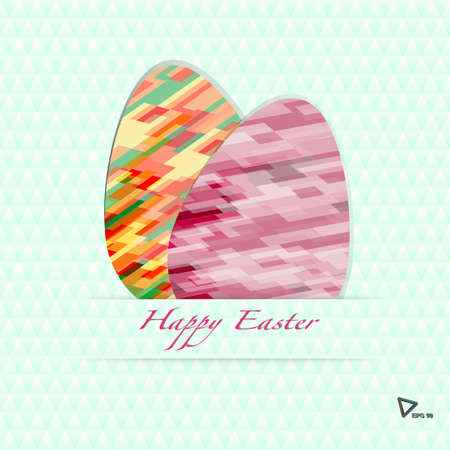 Vector color geometric Paper card with striped easter eggs photo