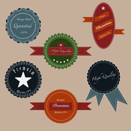 Collection of Premium Quality and Guarantee Labels with retro vintage styled design photo