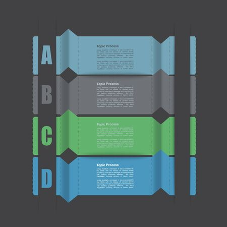 clean cut:  Modern Design template info graphics , numbered banners , cutout lines , graphic or website layout