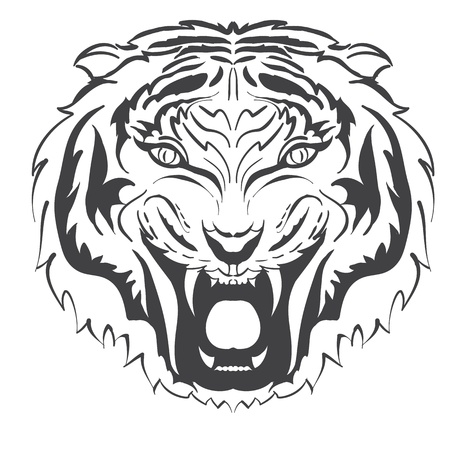 tiger head:   angry tiger