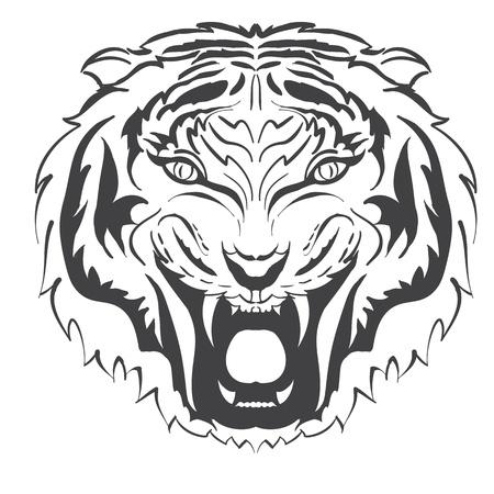 silueta tigre: enojado tigre