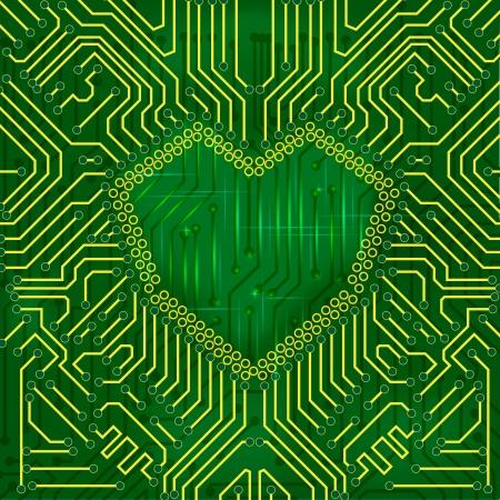 Heart shape printed circuit mainboard, love concept photo