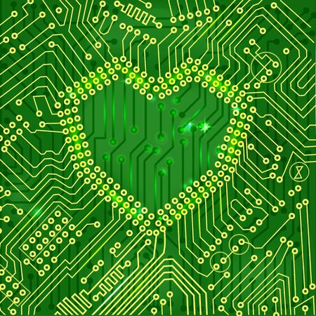 mainboard:   Heart shape printed circuit mainboard, love concept