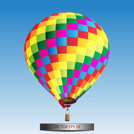 illustration with hot air balloon in the sky illustration