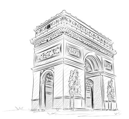 World famous landmark collection : Arc de Triomphe , Paris, France