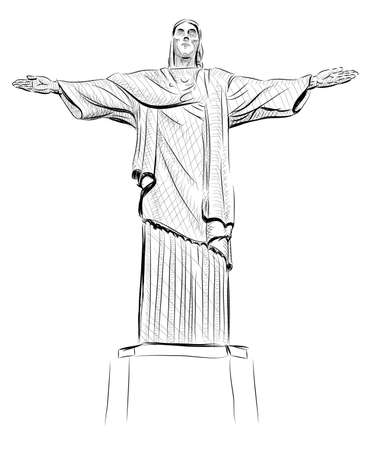 janeiro: Vector World famous landmark collection :  Christ the Reedemer statue, Corcovado, Rio de Janeiro, Brazil Stock Photo