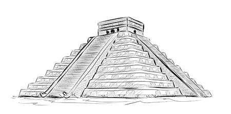 Ilustración De Dibujos Animados Con La Mano Dibujada Pirámide Azteca