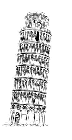World famous landmark collection : Pisa, Paris, France Stock Photo