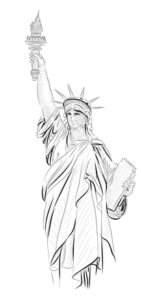 World famous landmark collection :  Statue of Liberty , New York City, America photo