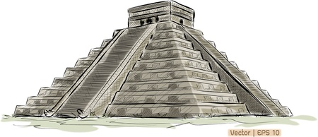 World famous landmark collection : Antique Mayan Pyramid Chichen Itza , Mexico