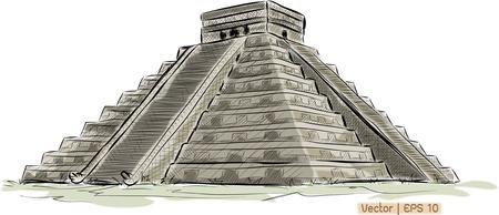 cultura maya: Mundial colección famoso monumento: Antique Pirámide maya de Chichen Itza, México