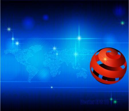 sincronizacion: Circuito Digital mapa del mundo, la globalizaci�n, de alta tecnolog�a y sincronizaci�n Foto de archivo
