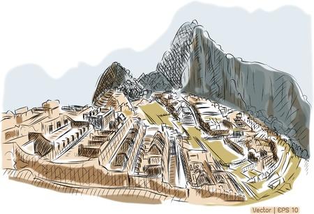 World famous landmark collection   Machu picchu ,Peru photo