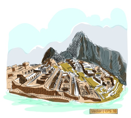 Vector World famous landmark collection   Machu Picchu, Peru photo