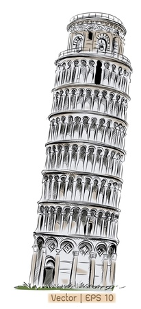 leaning tower of pisa: World famous landmark collection : Pisa Tower, Italy