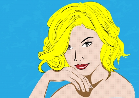 Beautiful sensual blonde lying on a blue pattern, pop art style photo
