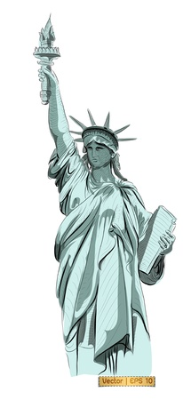 World famous landmark collection :  Statue of Liberty , New York City, America Stock Photo - 18954227