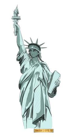 World famous landmark collection :  Statue of Liberty , New York City, America Stock Photo - 18954227