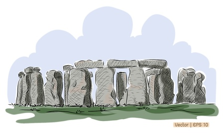 origins: Vector World famous landmark collection   Stonehenge, England , UNESCO world heritage site in England with origins estimated at 3,000BC
