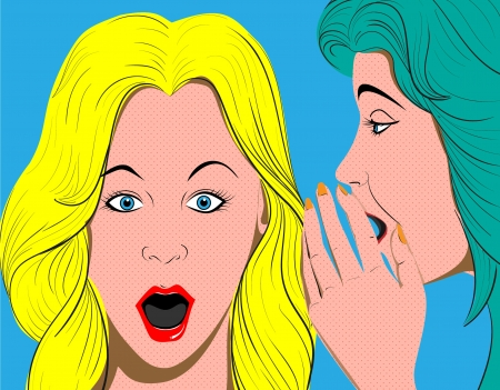 word of mouth: woman telling secrets, pop art retro style illustration