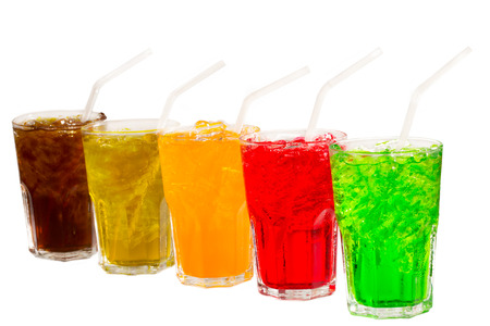 fruit drinks: Colorful soft drinks