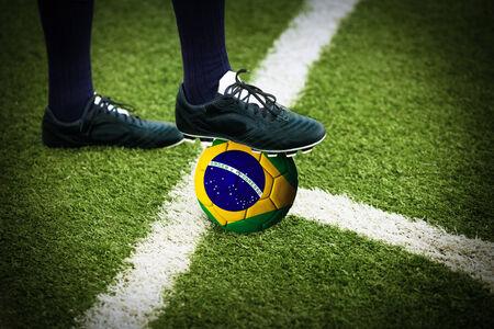 kickoff: Football or soccer ball at the kickoff of a game