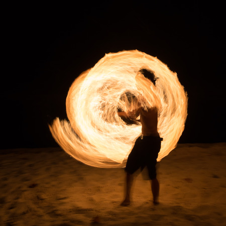 fire show: Amazing Fire Show at night on samet Island Thailand