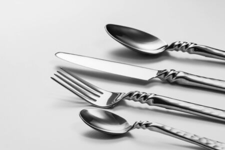 cutleries: Cutlery set with Fork, Knife and Spoon Stock Photo