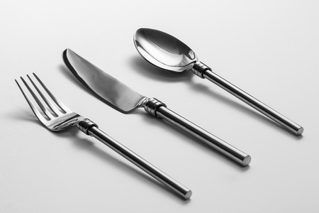 Cutlery set with Fork, Knife and Spoon Standard-Bild