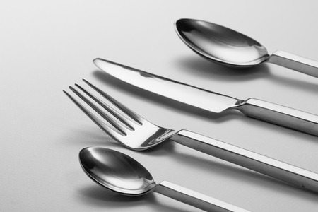 fork and knife: Cutlery set with Fork, Knife and Spoon Stock Photo