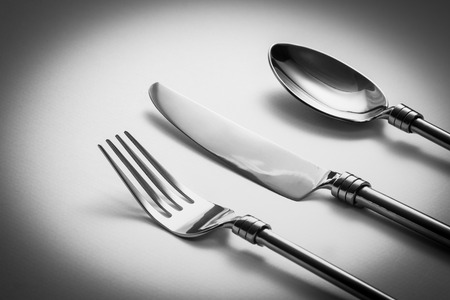 Cutlery set with Fork, Knife and Spoon Stock Photo