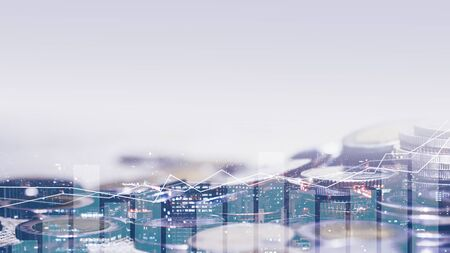 Double exposure of city and rows of coins for money, finance and business concept of teamwork and partnership. ECN Digital economy, best, technology, Industry, money, passive income.