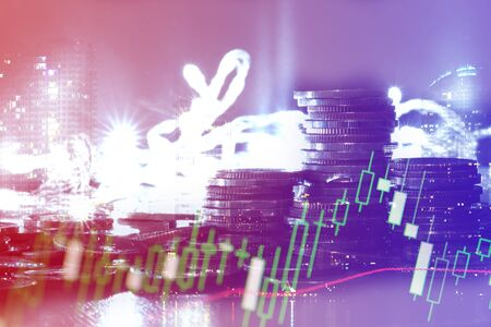 Financial investment concept, Double exposure of city night and stack of coins for finance investor, Forex trading candlestick chart economic , ECN Digital economy, business, money, passive income. Zdjęcie Seryjne