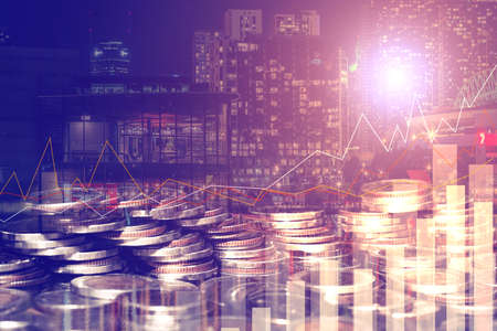 Double exposure of city and rows of coins for money, finance and business concept of teamwork and partnership. ECN Digital economy, best, passive income. Stock fotó