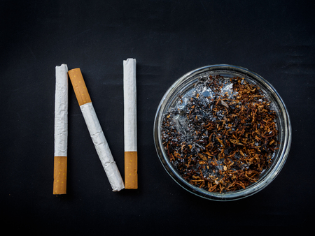 no smoking sign made by cigarettes and ashtray top view. world no tobacco day concept. Stock Photo