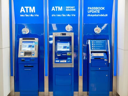 Pattaya, Chonburi /Thailand - July 19, 2018: The TMB Bank ATM in the department store. TMB ATM. 新聞圖片