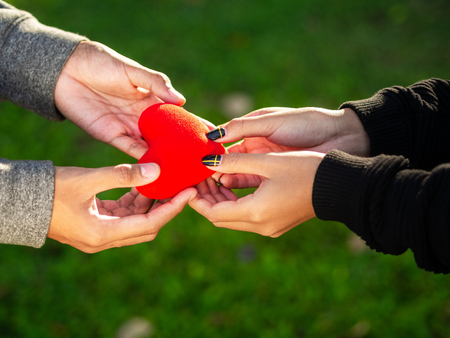 Couple on Valentines day. The man gives red heart to the woman in the park. Love, Valentines Day