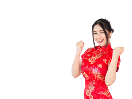 Asian woman in Chinese dress traditional cheongsam isolate on white background. Chinese new year Concept.