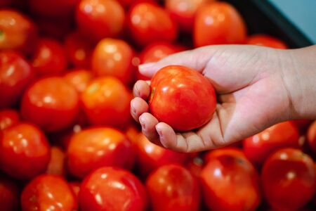 Woman hand picking up tomato in supermarket. woman shopping in a supermarket and buying fresh organic vegetables. Healthy eating Concept.