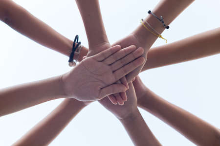 close up hand girl power , Teamwork stacking hand Concept