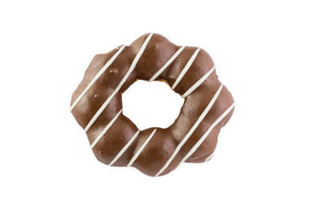 Chocolate donut isolated on white background. topview 免版税图像
