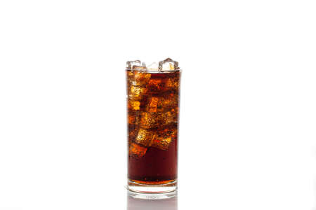 Cola in glass with ice isolated on white background