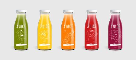 Concetto di marca della bottiglia del succo di vetro isolato su fondo grigio chiaro.