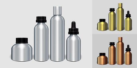 Silber, Gold, Kupfer Aluminium Flasche Verpackung Mock-up Set bereit für Ihr Design